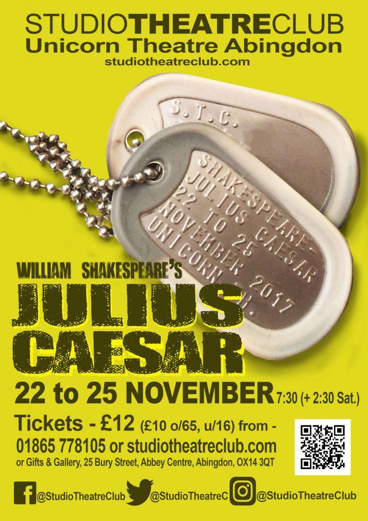 Julius Caesar, Studio Theatre Club, Unicorn Theatre, November 2017
