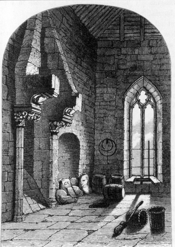 A 19th century drawing of the 13th century fireplace in the Checker
