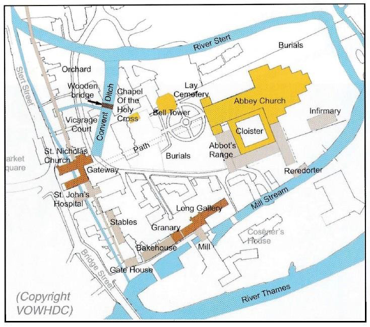 Conjectural map of Abingdon Abbey in the late 13th century
